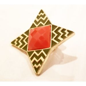 Vintage Bohemian Coral Stone Ring